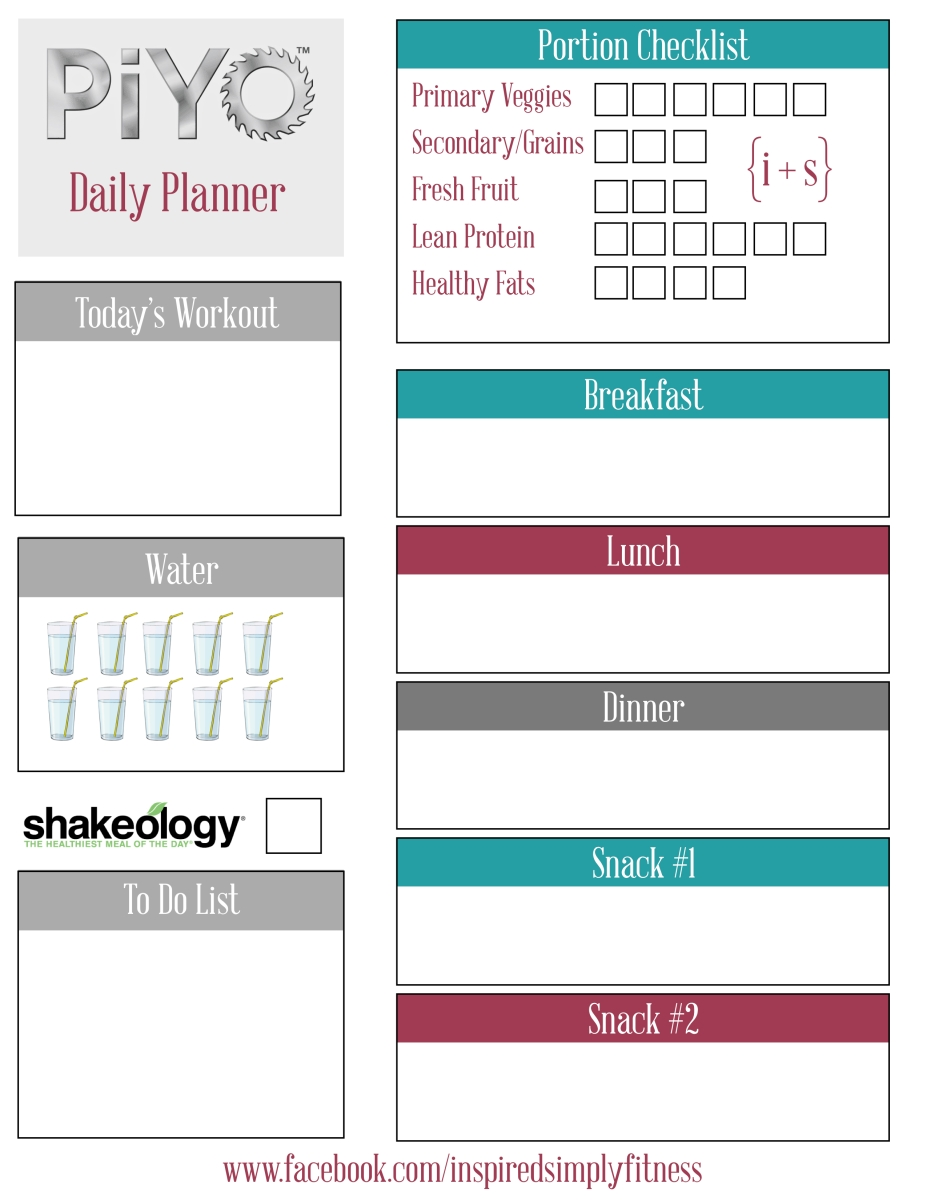 PiYo - Workout Calendar and Schedule to Download or Print ...