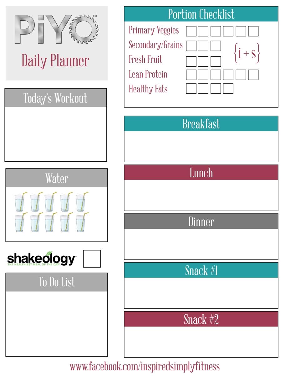 PiYo Meal Planner Printable – The Inspire Tribe